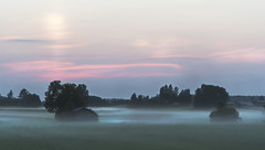 Cold mist rising (Jyrki Liikanen) Tags: sunset twilight mist fog foggy misty landscape landscapecapture mistylandscape foggylandscape halo countryside barn sunsetatfields foglayers finland finnishnature
