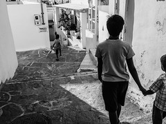 Kids (Daniele Salutari) Tags: photo photography shot wow amazing cool great good dannyboy ilovedannyboy daniele paros greece black white island summer trip travel people kids walking walk