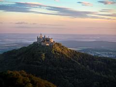 Hohenzollern Castle (v-_-v) Tags: trees morning goldenhour architecture hechingen europe hill sunrise germany burg schloss schwäbischealb landscape castle hohenzollern explored