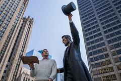 Chicago: Lincoln's Town (romanboed) Tags: leica m 240 summicron 28 usa illinois chicago city urban michigan avenue sculpture public street abraham lincoln