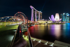 Marina Bay Sands and DNA bridge (DaveR1988) Tags: singapore mbs marinabay marinabaysands dna bridge skyline city cityscape beautiful sky fujifilm fujifilmx xseries x xt1 samyang 12mm wide wideangle marina water resort sg 2015 sg50