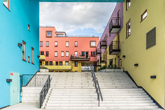 Colors (borishots) Tags: colors colorful color pastel bright stairs fence blue yellow orange pink violet pattern sonya7 sonyfe28mmf2 sony architecture modern modernarchitecture moderndesign design windows window sky oslo oslosentrum scandinavia norway