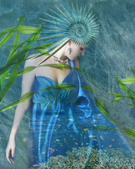 Sea goddess (Jean Turner Cain) Tags: photoshop photomanipulation jeanturnercain art adobe layering layers