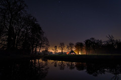 Starring Farm (Michael Angelo 77) Tags: countryside stars sky water silhouettes reflections dark night trees delden twente netherlands lightpollution redo