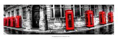 Telephone boxes (daz3467) Tags: telephone box panoramic wide shot colour bw mono