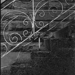 banister - Film Hasselblad (Photo Alan) Tags: hasselblad film filmcamera filmscan film120 banister stairs iron blackwhite black blackandwhite blankandwhite vancouver canada