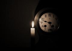 Tick-tock (zinnia2012) Tags: monochrome clock candle sepia minimalism stilllife zinnia2012 horloge bougie naturemorte