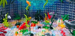 An Unsuccessful Treasure Quest (Robert4168/Garmadon) Tags: lego plants vegetation water sharks octupi cannonball highwayman eslandola fish pirates scene alllego colors lime green red sand orange lavender dark blue pink purple underwater