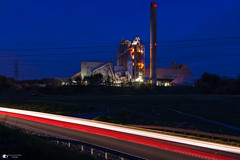 Aberthaw Cerment works (technodean2000) Tags: cement industrial barry aberthaw south wales uk night nikon d5100 18 lens factory outdoor serene dusk sunset sky blue pylons d610 car light trails brake red skyline