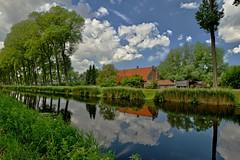 Reflexions (Kai Beinert) Tags: nature fluss kanal belgien brügge spiegelung refelxion landschaft landscape wasser belgium clouds wolken himmel sky