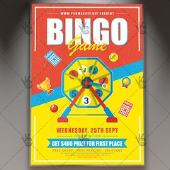 Bingo Game - Premium Flyer PSD Template (psdmarket) Tags: bingo bingocard cards casino chance competitiontournament contest draw game lucky number numbers winnings
