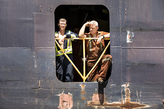 Getting Some air (Rudy Malmquist) Tags: algoma enterprise freighter canada canadian boat ship water great lakes shipping soolocks saultstemarie michigan upperpeninsula up portrait men deckhand