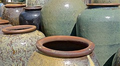 Pottery (sswj) Tags: pottery pots largepots tone texture middaylight availablelight existinglight naturallight halfmoonbay sanmateocounty northerncalifornia california composition beautifullight leica dl4 scottjohnson viewfullscreen abstractreality abstraction geometry oval mouth