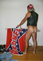 The ass view is much sexier (Cowboy Tommy) Tags: redneck rebel dixie pantless bottom ass arse butt bubblebutt mounds cheeks rump humps crack buns backside muscle muscles leather vest sex sexy nude naked iron flag hairy legs