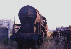 FS Crosti boiler 2-8-0 741.110 out of use at Catanzaro Lido in 1978 (Tom Burnham) Tags: italy italia catanzaro railway ferrovia fs depot deposito loco vapor steam disused 1970s