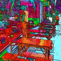 street cafe (j.p.yef) Tags: peterfey jpyef yef streetcafe germany hamburgosterstrasse tables windows people digitalart square seasons summer streetlife