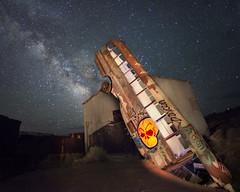 Crash Site (magnetic_red) Tags: crash bus alien spaceship stars starrynight milkyway eerie shed glow nevada skull composite lightpainting desert