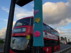 Wool bombing (moley75) Tags: london centrallondon waterloobridge bus yarnbomb woolbomb