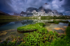 Respect me... (Croosterpix) Tags: landscape nature alps mountains dolomiti dolomites water lake gras reflection sky clouds rocks sony a7r nikkor1835 nisi filter longexposure