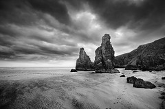Garry Beach Sea Stacks (andy_AHG) Tags: great bernera isle lewis western isles outer hebrides scotland highlands islands britain uk british landscapes scottish outdoor rock sea sunset water landscape serene formation mountain waterfall bostadh beach shore coast seaside ocean garry traigh ghearadha stacks monochrome