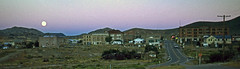 Goldfield, Nevada - Moonrise - 1971 (tonopah06) Tags: goldfield nevada nv 1971 ghosttown miningcamp goldcamp kodachrome remake us95 highway95 highway moonrise sunset panorama esmeralda county seat
