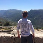 An Honors students looks out over Delphi while on the Greece trip.