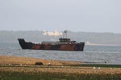 LCU08 with Osborne House (roger_forster) Tags: lcu08 9737 landing craft utility mk10 osbornehouse isleofwight stokesbay solent gosport hampshire bae govan military