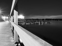 Night time at the marina (Will.Mak) Tags: monochrome blackandwhite baysidemarina queens nyc newyork bayside marina pier boats bay waterfront water outdoor architecture landscape nighttime