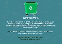 FACEBOOK (M. Jalón) Tags: recogida basura contenedores porcuna nota informativa ayuntamiento concejalía mediambiente