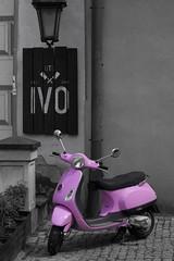 Motorbike (Grzegorz Krol) Tags: lublin colors black white single pink old town