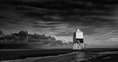Burnham-on-Sea Dawn Light. (Chilli Dawg) Tags: burnhamonsea mono blackandwhite silverefex somerset lighthouse dawn cloud clouds sky lowkey