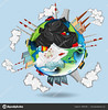 World full of pollutions and trash (Daku-Dark) Tags: waste junk rubbish garbage trash dump dirty environment litter earth world globe planet globalwarming ozone pollution nature poster banner sign greenhouseeffect sky illustration graphic picture clipart clip art background drawing image cartoon elements vector
