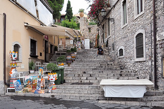 Stairs and traditional ceramics in Taormina, Sicily, Italy