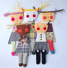 Shy Girl Art Doll (jkw_fire_horse) Tags: artdoll shygirl blushingdoll wallhanging walldecor handmade cute simpledoll firehorsetextiles