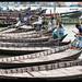 Rowboats on the Buriganga River, Dhaka, Bangladesh