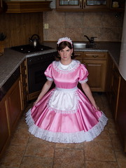 Pink Maid (blackietv) Tags: maid dress gown pink white satin petticoat lace apron tgirl transvestite crossdresser crossdressing transgender kitchen
