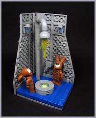 """""""Hey, does that look right?"""" (Karf Oohlu) Tags: lego moc vignette gingerbreadrabbit problem cyclops rabbit pipes"""