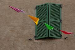 Le vert sur le vert (Pi-F) Tags: volet boie façade vert fanion triangle couleur jaune rouge diagonale fermeture fête décoration rue 4 quatre corde