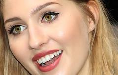 Blond beauty (Wilamoyo) Tags: femaleportrait girl woman face beautiful open mouth blond model smile feminine lipstick teeth eyes close nose portrait