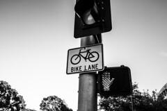 Bike Lane (blacograf) Tags: bike lane path cycle sign road symbol signal street white bicycle asphalt light way urban cyclist transport ride biking traffic city travel green outdoors track red blackandwhite bw
