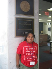 Little Activist outside of Senator Schumer's office