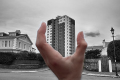Forced Perspective (VisualTheatrics) Tags: forced perspective forcedperspective homes high highrise flats urban urbanexploration street streetview streetphotography architecture monochromatic mono