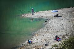 Camping (Melissa Maples) Tags: bucak turkey türkiye asia 土耳其 nikon d3300 ニコン 尼康 nikkor afs 18200mm f3556g 18200mmf3556g vr iskotur roadtrip excursion summer bucakbarajı reservoir water turk man angler fisherman green shore tent camping campers