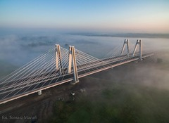 DJI_0012 (TomaszMazon) Tags: bridge krakow vistula river poland pylon mist fog sunrise