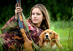 A hunting girl (svklimkin) Tags: hunter hunt girl dog gun nature wild animal russia
