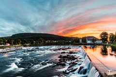 TemaFoto 000398 Visning (Tor Magnus Anfinsen) Tags: sunset kongsberg norway norge waterfall river blue red yellow green silk hdr panorama