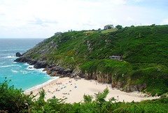 Porthcurno from the coast path (zawtowers) Tags: cornwall kernow summer holiday break vacation july 2017 porthcurno porthkornow thursday 20th sunshine sunny afternoon blue skies warm national trust coastline beach seaside sea south west coast path view overlooking sand cliffs