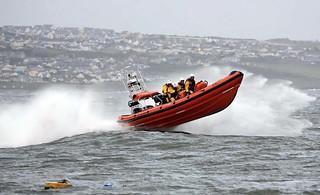 Porthcawl RNLI volunteers training onboard Atlantic 85 'Rose Of The Shires' in rough seas