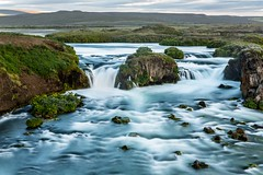 Aedarfossar in Laxa river (Einar Schioth) Tags: aedarfossar æðarfossar water waterfall sky summer river rocks rock evening canon clouds cloud coast cliff canyon nationalgeographic ngc nature landscape lake photo picture outdoor iceland ísland einarschioth