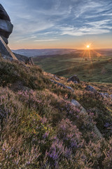 Higger Tor - July (howardedward) Tags: valley moor sunset sun heather england landscape nature explore